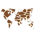 world map in animal print design giraffe pattern vector image vector image