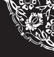 Black and white round floral border corner vector image