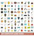 100 computer game icons set flat style vector image vector image