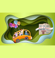 back to school 1 september card children in bus vector image