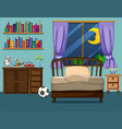 bedroom scene with books and toys vector image vector image