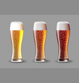 beer on glass realistic beer set on vector image vector image