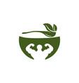 bowl leaf spoon muscle healthy food logo designs vector image