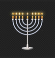 brightly glowing hanukkah menorah template for vector image