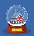 christmas snow globe with house inside vector image vector image
