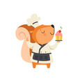 cute squirrel in chef uniform holding cupcake vector image vector image