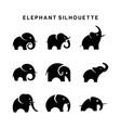elephant logo set symbol silhouette vector image vector image
