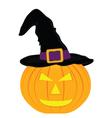 evil pumpkin witch hat for Halloween vector image vector image
