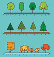 Flat linear set of different trees for design vector image vector image