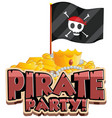 font design for word pirate party with flag and vector image vector image