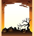 frame with halloween scenery 1 vector image vector image