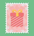 gift box surprise snowflakes merry christmas stamp vector image vector image