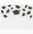 graduate caps and confetti on a transparent vector image