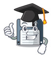 graduation floppy disk isolated with a mascot vector image
