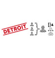 grunge detroit line stamp and collage organization vector image vector image