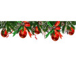 horizontal banner with christmas tree garland vector image vector image