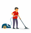 husband vacuum cleaner concept background flat vector image