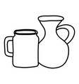 jars canteens pots isolated icons vector image vector image