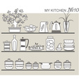 Kitchen utensils on shelves 8 vector image
