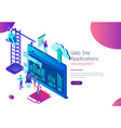 landing page on screen future web site vector image vector image