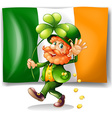 Leprechaun and Irish flag vector image