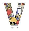 letter v with mask vector image vector image