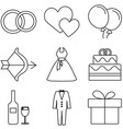 love and wedding icon set vector image vector image