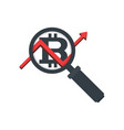 magnifying glass icon with bitcoin and graph vector image