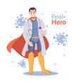 male doctor super hero fight against coronavirus vector image