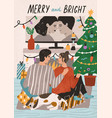 merry and bright postcard template festive vector image