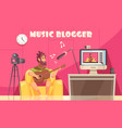 musical video blog background vector image vector image