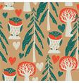 owl forest sreenprint vector image vector image