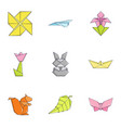 paper toylike icons set cartoon style vector image vector image