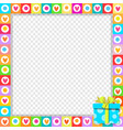 photo border made of cute hearts with blue vector image vector image