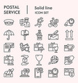 postal service line icon set postage mail vector image vector image
