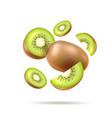 realistic fresh kiwi exotic whole fruit vector image vector image