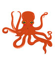 red cartoon octopus isolated on a white background vector image vector image