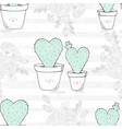 seamless pattern with hand drawn heart shaped vector image