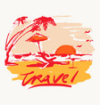 seaside view beach sunset vacation travel vector image vector image