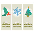set 3 merry christmas and happy new year vector image