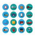 set delivery round icons vector image