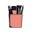 set make up brushes and lipstick in box vector image