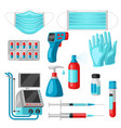 set medical equipment and protection vector image