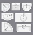 set of different wash basins vector image vector image