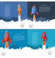 set ofstartup rocket launch in cartoon style vector image