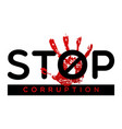 stop corruption banner vector image vector image
