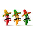 three chilli pepper characters with sombrero hat vector image vector image