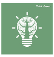 Tree of green idea shoot grow in a light bulb vector image vector image