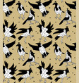 white crows in crowns color seamless pattern vector image vector image