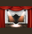 wooden stage with red curtain and white brick vector image vector image